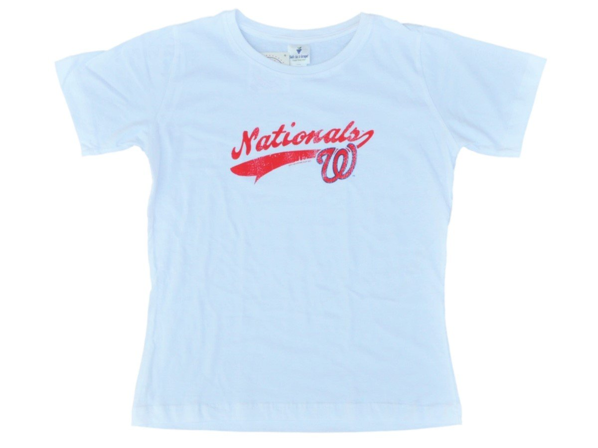 Amazon.com   Washington Nationals SAAG Women White Distressed Logo Soft  Cotton T-Shirt   Sports   Outdoors c3acfb943