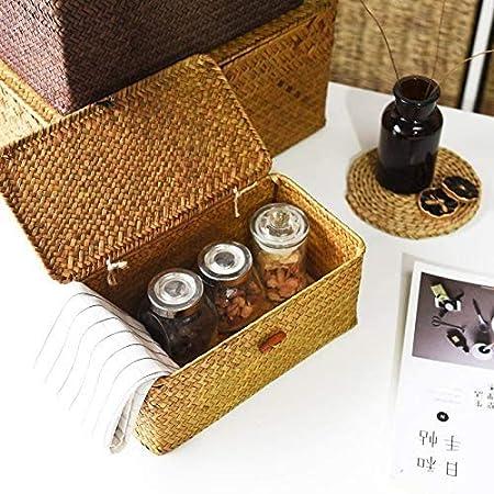 Cratone Aufbewahrungskorb aus Seagras mit deckel Aufbewahrungsbox gro/ß Rattankorb Badkorb mit Deckel Aufbewahrung Makeup 3 St/ück Spielzeug B/ücher