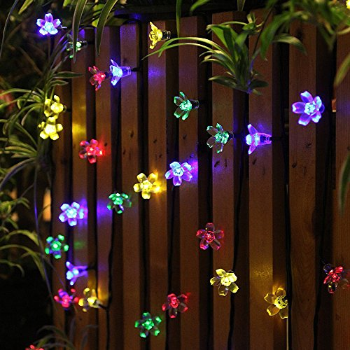 50 LEDS Holiday Decorations Solar String Lights Flower Garden Lights Panpany Outdoor Lighting  for Indoor, Patio, Fence,Patio, Party (A Patio Over Pergola A Building)