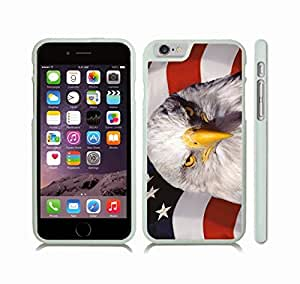 iPhone 6 Plus Case with Bald Eagle on American Flag Design , Snap-on Cover, Hard Carrying Case (White)