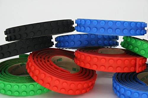 LEGO Compatible Building Block Tape | Red, Blue, Green, and Black | 3 Rolls Per Box | 3 Feet Per Roll | One Color Per Box | Silicone | 3M Adhesive | Flexible, Easy to Cut, Reusable (Idee Originali Per Halloween)