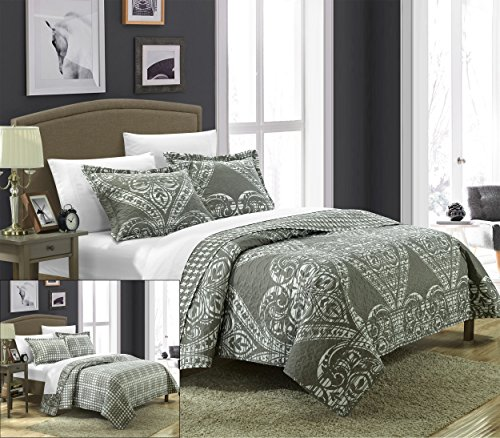 poli Reversible Printed Quilt Set, Queen, Silver ()
