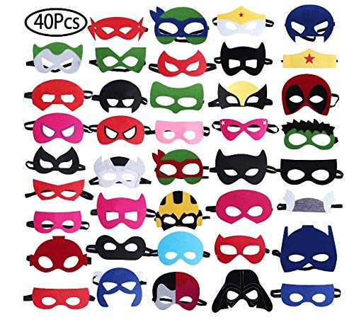 Standie 40 PCS Masks for Superhero Felt Masks Party Favors Birthday Cosplay Character Masks for Children Aged -