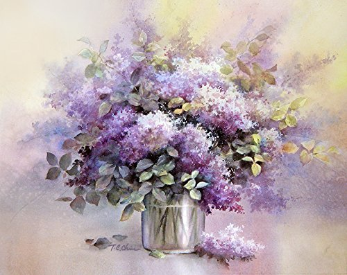 Amazon Lilac Flowers In A Vase Print Of Watercolor Painting