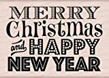 Hero Arts Rubber Stamps Merry Christmas and Happy New Year Woodblock Stamp