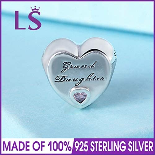 Calvas LS 925 Sterling Silver Granddaughters Love Charm Beads Fit Original Bracelets Pulseira Encantos.Fine Jewlery W