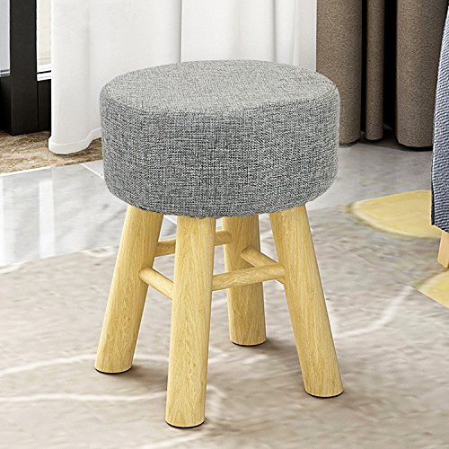 Jerry & Maggie - Footstool Fabric Ottomans Bench Seat Foot Rest Step Stool with Feet Protection Design | Round - Long 4 Legs - Light Grey by Jerry & Maggie (Image #4)