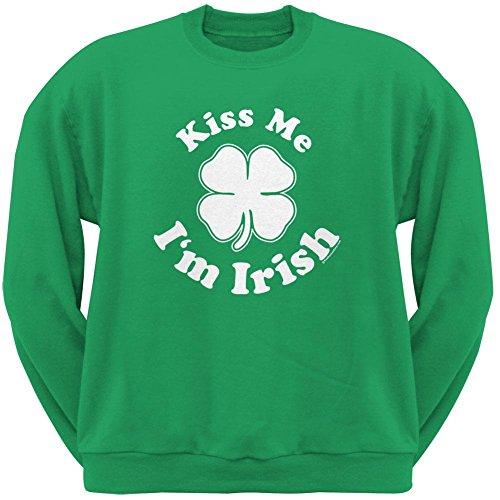 Old Glory ST. Patricks Day - Kiss Me Im Irish Green Adult Sweatshirt - X-Large (Im Drunk Green T-shirt)