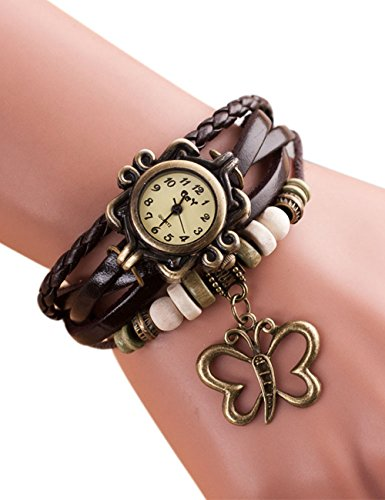 Lady Watches,POTO JY-37 2017 New Fashion Weave Around Alloy Analog Bracelet with Butterfly Wrist Watch Gift (Brown)