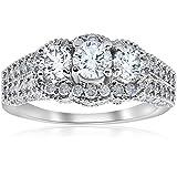 2.25CT Heirloom Diamond Vintage Ring 14K White Gold