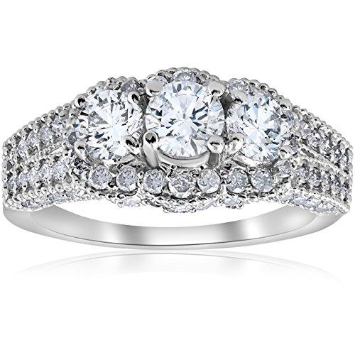 Vintage Diamond Solitaire (2 1/4ct Vintage Diamond Engagement Ring 14K White Gold Solitaire Round 3-Stone)