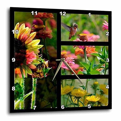 - 3dRose DPP_79168_3 Summer Garden Collage Hummingbird and Flowers Wall Clock, 15 by 15-Inch