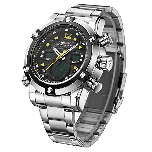 Men's Waterproof Wrist Watch Quartz Analog Digital Watch with Analog Week/Month Date LCD (Seconds Date Day Month)