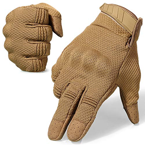 AXBXCX Breathable Flexible Rubber Hard Knuckle Full Finger Tactical Gloves Protection for Riding Driving Motorcycle Cycling ATV Dirtbike Motorbike Hunting Shooting Airsoft Paintball Military Brown L ()