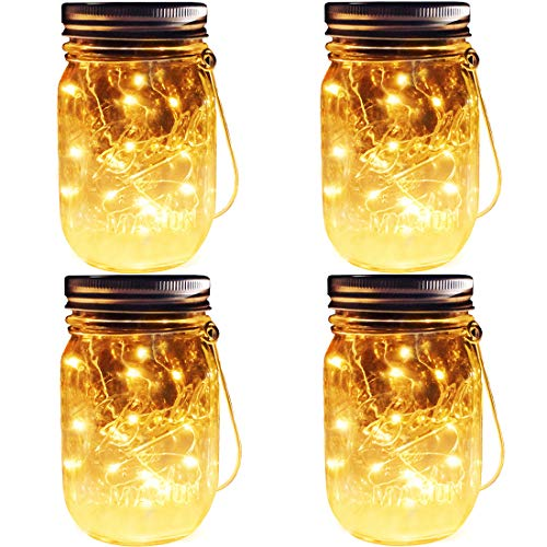 Solar Mason Jar Lights, 4 Pack 30 Leds Waterproof Fairy Firefly String Lights Build-in Glass Mason Jar, Best Patio Garden Decor Solar Hanging Lanterns Outdoor Warm White (4 Pack-Mason Jars Included)]()