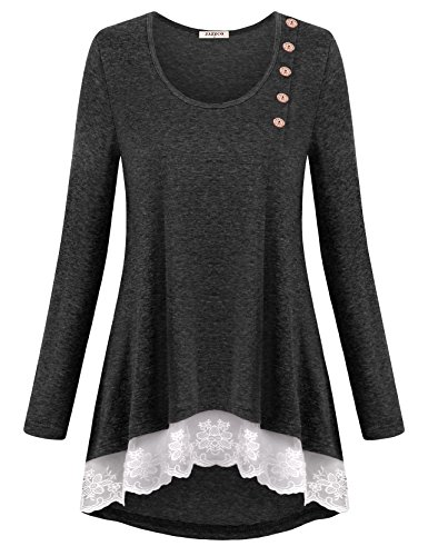 Jazzco Vintage Tops Blouses For Women Long Sleeve Business Casual Clothes Flattering Shirts Trapeze Snappy Crew Neck With Button Knitted Floral Lace Tunic(Deepgrey,X-Large)