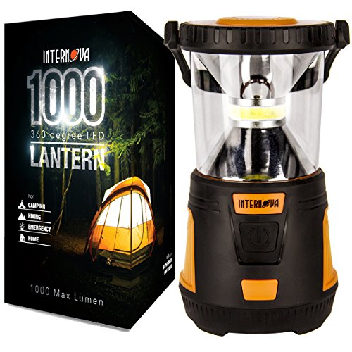 Internova 1000 LED Camping Lantern - Massive Brightness with Fully Adjustable 360 Arc Lighting - Emergency - Backpacking - Construction - Hiking - Auto - Home - College (Cadmium Orange)]()
