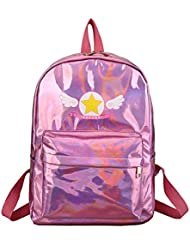 Anlydia Holographic Laser Leather Backpack Travel Casual Satchel