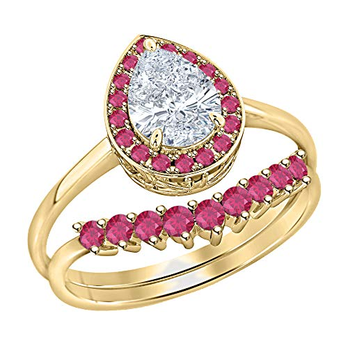 tusakha Women's 14K Yellow Gold Plated Pear Shape White Diamond & Ruby Engagement Teardrop Bridal Ring Set .925 Sterling Silver