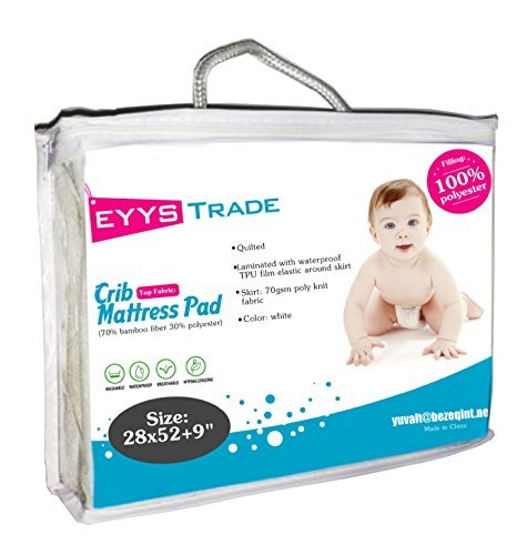 Waterproof Ultra Soft Baby Crib Mattress Pad Protector,Quilted Fitted and High Absorbency Cover for Your Baby Safety,by EYYS Trade ,28-52-9,(White)