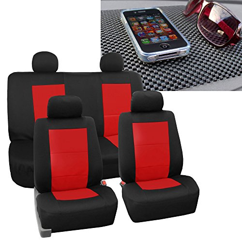 FH GROUP FB085114 EVA Foam Premium Waterproof Car Pair Bucket Red / Black Seat Covers w. FREE GIFT FH1002 Non-Slip Dash Pad- Fit Most Car, Truck, Suv, or Van