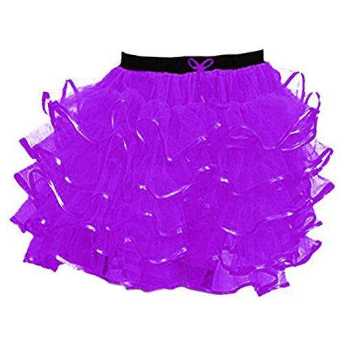 Janisramone Femmes Dames Nouveau 5 Couches avec Ruban Poule Nuit Danse Fte Volant Mini Tutu Jupe 18 Pouces Longue Violet