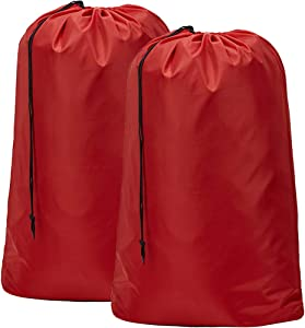 HOMEST 2 Pack Extra Large Travel Laundry Bag [28''×40''] Machine Washable Sturdy Rip-Stop Material with Drawstring Closure, Red