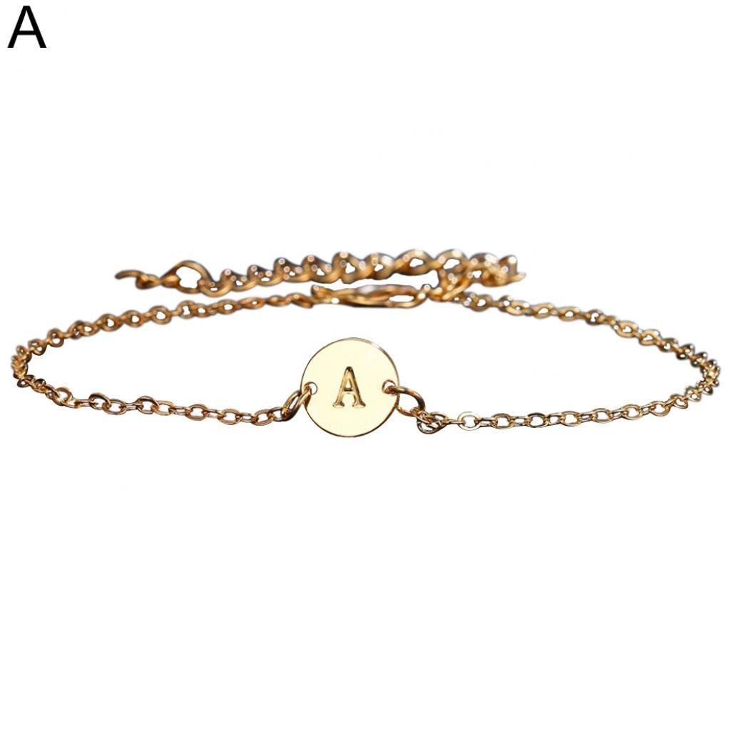 Sanwood - –-– 26Lettres en métal Bracelet de Cheville de Plage Pied Chaîne Femme Cadeau Bijoux Sandale Cheville Barefoot Chaîne, Alliage, doré, Small doré
