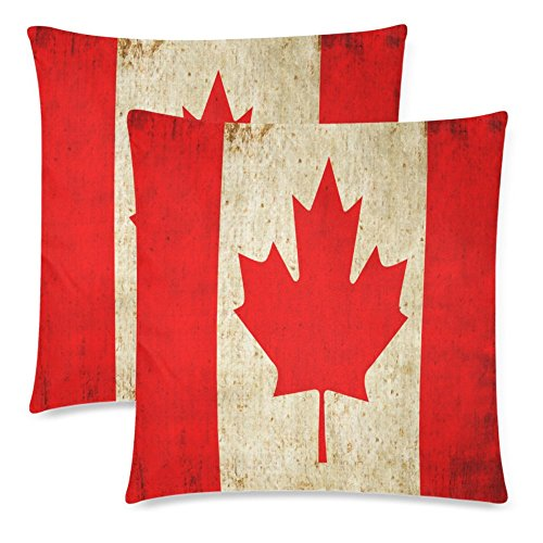 InterestPrint Vintage Canada Flag Throw Pillowcase Pillow Case 18x18 Twin Sides for Couch Bed, Retro Red Maple Leaf Zippered Cushion Pillow Cover Shams Decorative, Set of 2 (Bed Sets Canada)