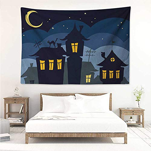 Halloween,Tapestries Wall Art Old Town with Cat on The Roof Night Sky Moon and Stars Houses Cartoon Art 91W x 60L Inch Bedroom Decoration Tapestry, Black Yellow Blue]()