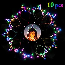 10 pcs LED Unicorn Hairhoop Headband
