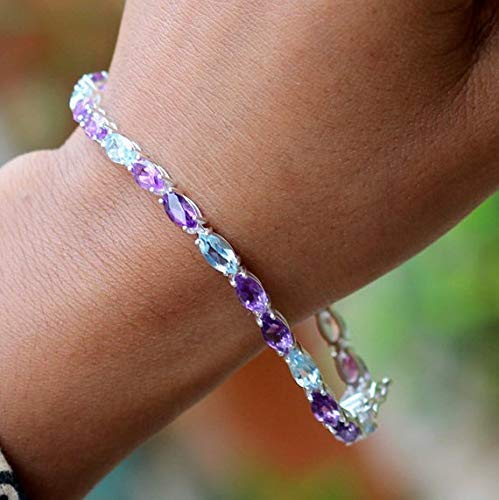 (Genuine Blue Topaz Amethyst bracelet 925 solid silver Jewelry marquise faceted shaded Amethyst Tennis Bracelet Anniversary Gift AB1015)