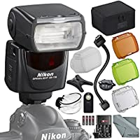 Nikon SB-700 AF Speedlight Flash Kit with Remote, Bounce Diffuser, 12 Flash Cord, Fibertique Cloth, More