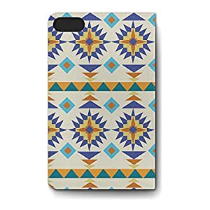 Leather Folio Phone Case For Apple iPhone 5S Leather Folio - Sante Fe Tribal Gold & Blue Designer Back