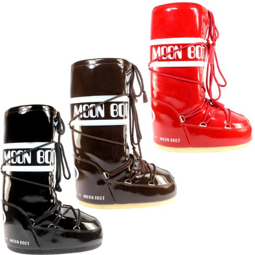 Moon Boot Womens Tecnica Original Viynl Snow Winter Waterproof Boots - Black - 7-8.5 (Snow Boots Winter Moon)