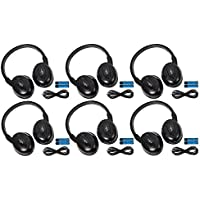 6 Pack of Two Channel Fold Flat Adjustable Universal Entertainment System Infrared Headphones 6 Additional 48 3.5mm Auxiliary Cords Wireless IR DVD Player Head Phones Car TV Video Audio Listening