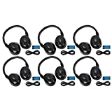 6 Pack of Two Channel Fold Flat Adjustable Universal Entertainment System Infrared Headphones 6 Additional 48'' 3.5mm Auxiliary Cords Wireless IR DVD Player Head Phones Car TV Video Audio Listening
