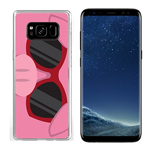 Liili Samsung Galaxy S8 Clear case Soft TPU Rubber Silicone Bumper Snap Cases IMAGE ID: 18010975 Cartoon pig head with - With Pig Sunglasses