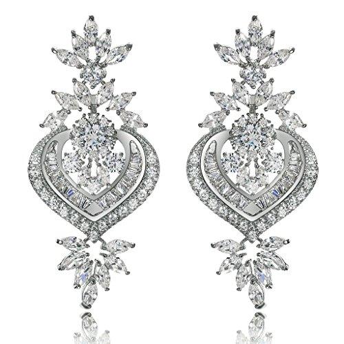 AmDxD Jewelry Silver Plated Stud Earrings for Women Heart Silver 23X50MM