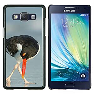 KLONGSHOP // Cubierta de piel con cierre a presión Shell trasero duro de goma Protección Caso - mar pico gaviota naturaleza de verano de aves - Samsung Galaxy A5 A5000 //