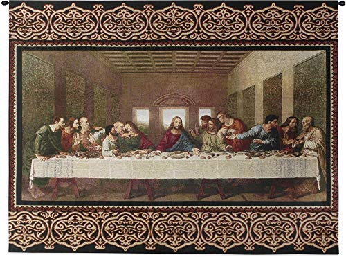 The Last Supper by Leonardo da Vinci | Woven Tapestry Wall Art Hanging | Religious Inspirational Jesus Last Supper | 100% Cotton USA Size 53x40
