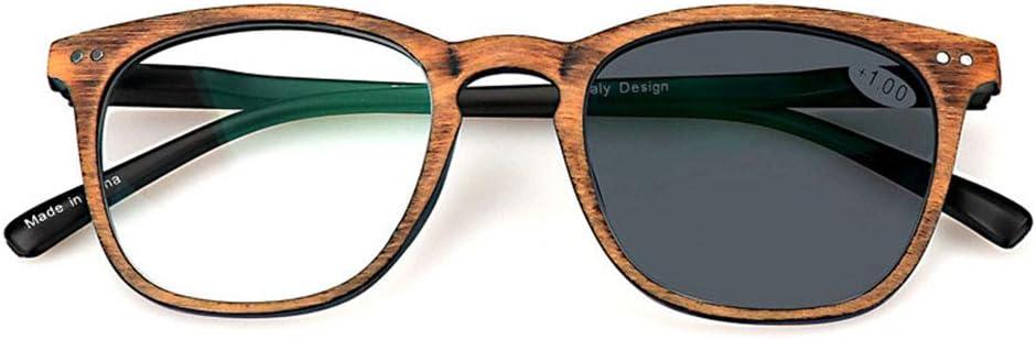 MMZZ Anteojos de Lectura, Gafas de imitación de Fibra óptica, Gafas sin Receta, Lentes de Sol, protección radiológica Protección UV, Cambio de Color al Aire Libre, para Hombres/Mujeres