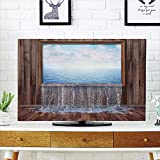LCD TV Cover Multi Style,Waterfall,A Surreal Image of Ocean Pours into The Ground Nature in Urban Life Modern Art,Blue Brown,Customizable Design Compatible 37'' TV
