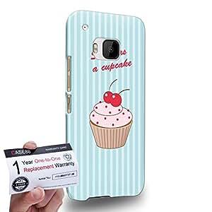 Case88 [HTC One M9] 3D impresa Carcasa/Funda dura para & Tarjeta de garantía - Art Drawing Sweet As A Cupcake Blue