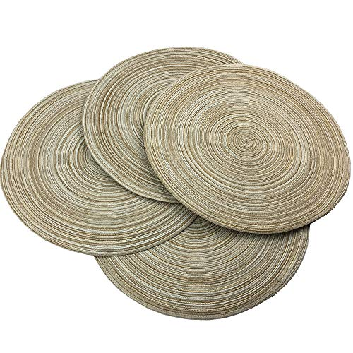 Red-A,Placemats,Round Placemats for Dining Table Set of 4 Woven Heat Resistant Non-Slip Kitchen Table Mats Diameter 14 Inch(Cream with Golden Silk)