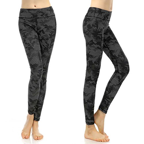SOUTEAM Womens Yoga Leggings with Pocket Lightweight Fitness Pants, Black Camouflage, X-Large