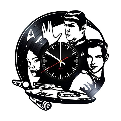 "(Star Trek Enterprise Vinyl Record Wall Clock - Get unique living room wall decor - Gift ideas for men and women ??"" Space Future Characters Unique Art Design)"