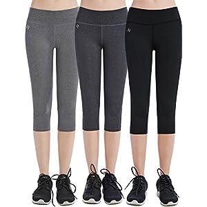 FITTIN Women's Yoga Capri's Leggings w/ Pocket, Black/Grey, Pack of 3 (Small)