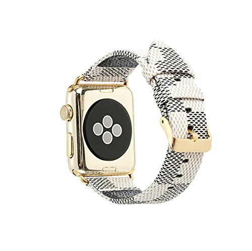 NewSilkRoad 38mm Classic Plaid Pattern Leather Replacement Watch Band Strap with Stainless Metal Buckle Compatible for Apple Watch Series 3, Series 2, Series 1, Sport & Edition (I)
