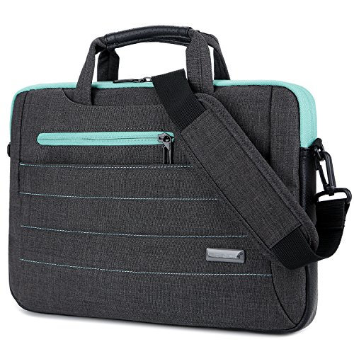 Brinch 15-15.6 Inch Multi-Functional Suit Fabric Portable Laptop Sleeve Case Shoulder Messenger Bag Briefcase for Laptop, Tablet, MacBook, Notebook - Black-Green